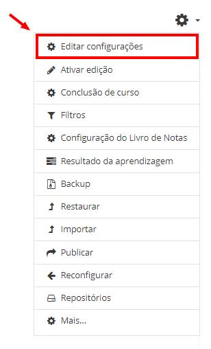 Editando configurações do curso